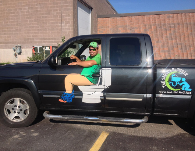 Nailed It: Plumber's Custom Car Decal That Makes Him Look Like He's On The Toilet